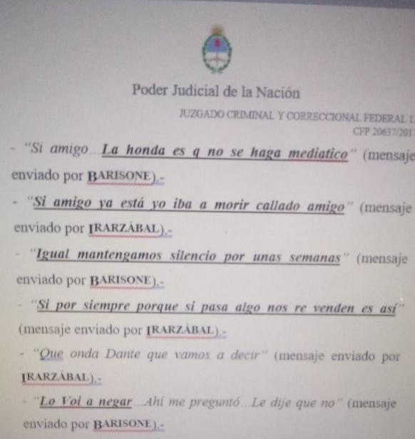 Los mensajes entre los policías Barisone e Irarzábal, claves en la causa que lleva el juez Torres.