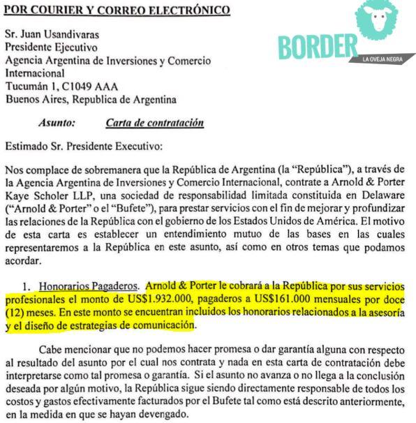 """Glover Park Group se comprometió a """"proveer comunicación estratégica en la consulta de servicios para apoyar las recomendaciones estratégicas y la asistencia de Arnold & Porter Kaye Scholer a la Argentina en su relación con Estados Unidos"""""""