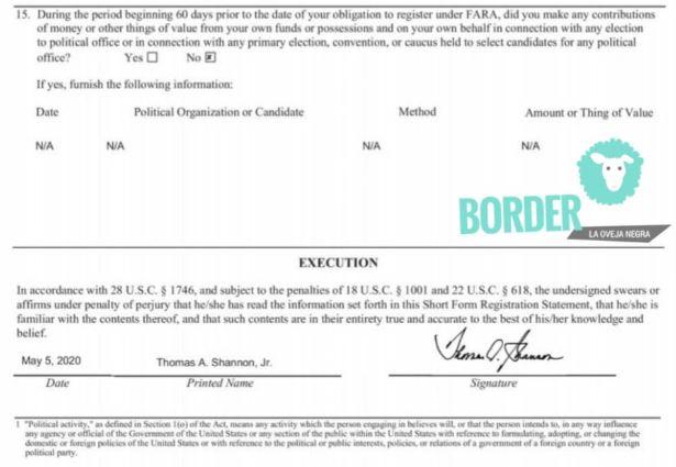 El contrato lleva la firma de Thomas A. Shannon Jr