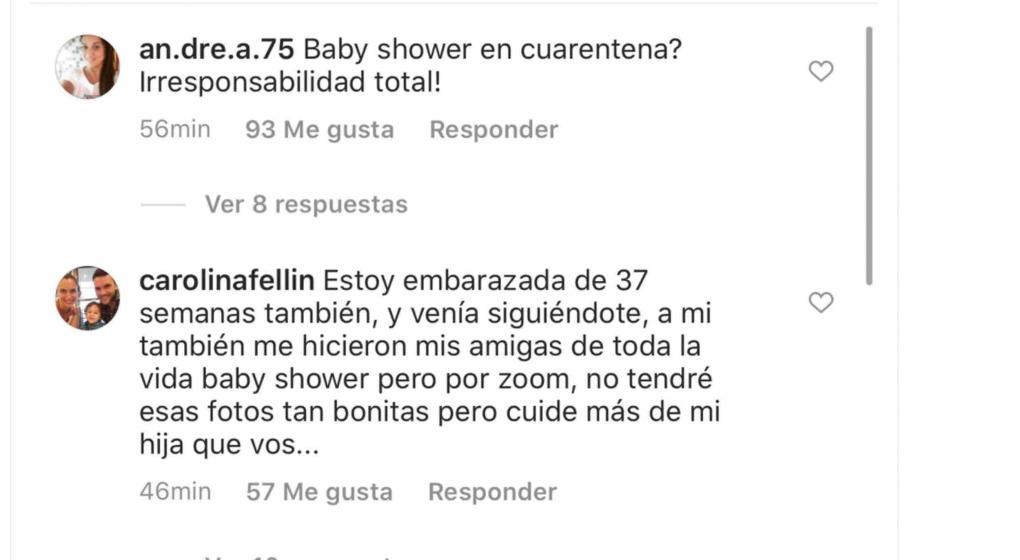Los comentarios que repudiaron el baby shower de Sofía Zámolo