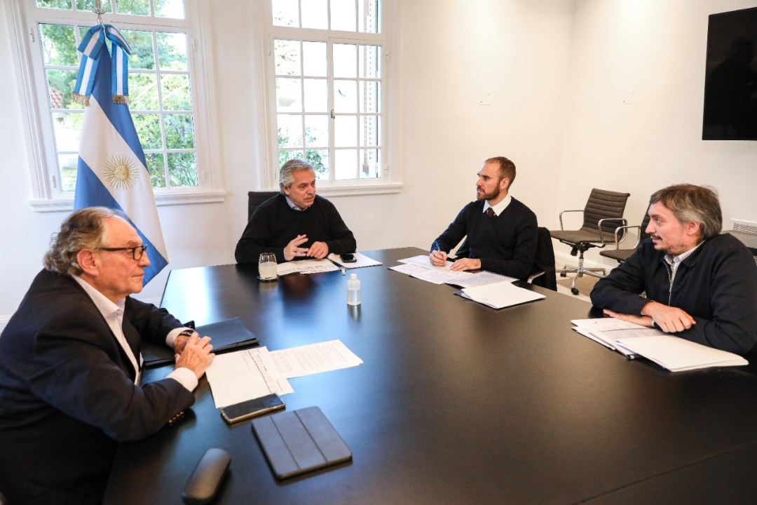 De izq. a der.: Carlos Heller, Alberto Fernández, Martín Guzmán y Máximo Kirchner