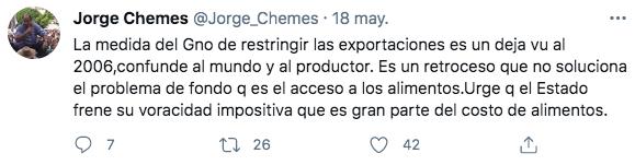 El tuit de Jorge Chemes, titular de la CRA