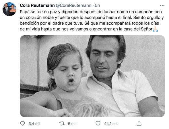 """""""Papá se fue en paz"""", escribió Cora Reutemann en su Twitter"""