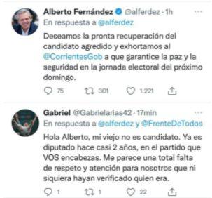 """El hijo de Miguel Arias cruzó al presidente Alberto Fernández por su error al llamarlo """"candidato"""""""
