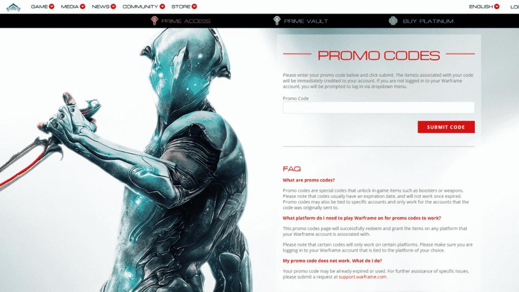 warframe promo codes page