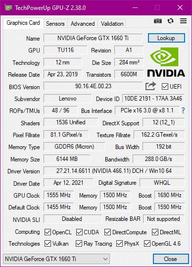 GPU-Z VRAM Size