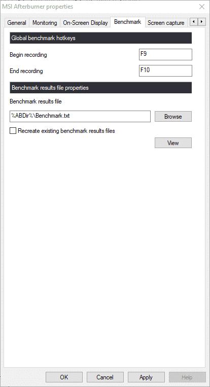 """MSI Afterburner settings """"Benchmark"""""""