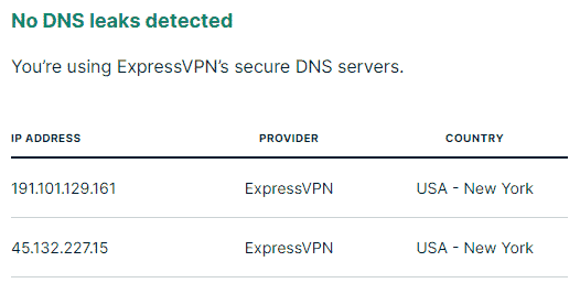 Express VPN's leak test - 2 US servers