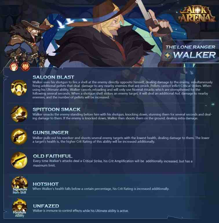 Walker - The Lone Ranger Skills, Signature Item, and Furniture ability