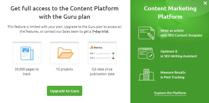 Content Analyzer Platform Semrush