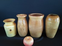 Birch Turned vases with waterproof epoxy finish on inside