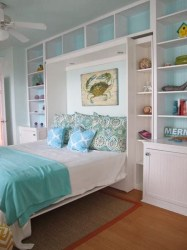 beach cottage bedroom bedrooms bed murphy coastal room guest playroom comfy decor storage shelves jane built rooms cottages coslick bedding