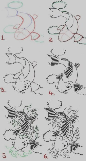 step drawings practice easy drawing draw fish steps boredart koi bored simple doodle pencil tattoo tutorials artistic craft paintingvalley coloring