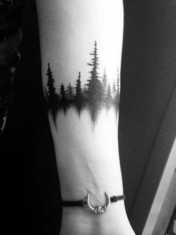 Pine Tree Forest Tattoo : forest, tattoo, Forearm, Forest, Tattoo, Design