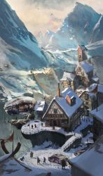 village artstation fantasy dale icewind artwork landscape concept mountain town andrii snow welcome cities vivacious wonderment wonderful dnd winter mountains