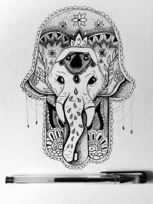 drawing hipster indie drawings amazing hippy hamsa hand hippie elephant easy things ballpoint giada laurentiis tattoo tekenen