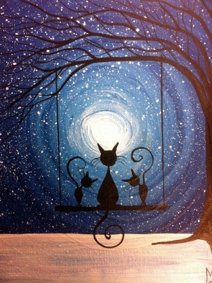 silhouettes cat silhouette painting amazing inspiration acrylic swing drawing cats moon waiting drawings paintings canvas magic hippie artwork whimsical michael