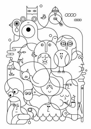 line drawing examples illustration jonathan behance calugi poolga iphone kolorowanki coloring boredart adult drawings things na stitched panorama ipad three