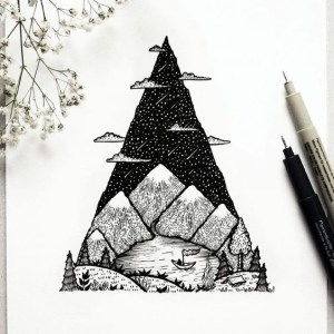 drawing line drawings tree examples lake scenery mountain simple easy lines nature things draw sketch camping tattoo doodle cloud using