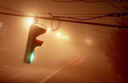 Long Exposure Traffic Light in Fog