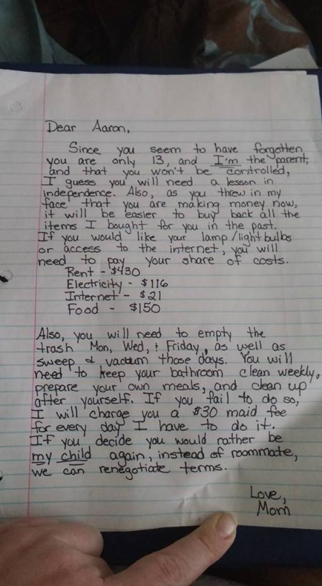 Mom Was Fed Up With Spoiled Son. So She Sent Him THIS Letter. Just Brilliant!