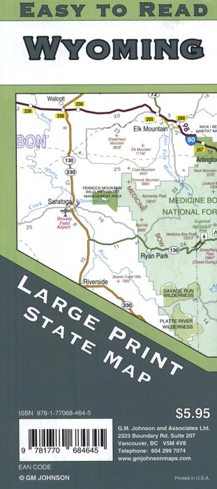 Wyoming Large Print Road Map
