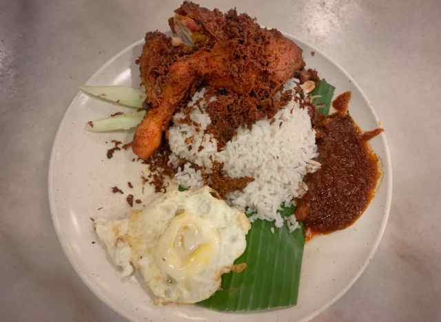Fried Chicken Nasi Lemak Dish at Village Park Restaurant Cheap Eats Kuala Lumpur