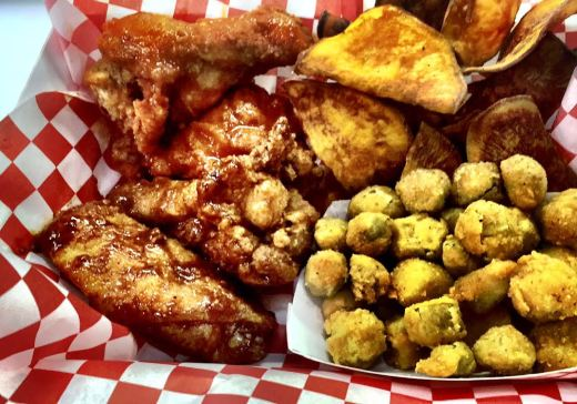 Wings, Sweet Potato Chips and Fried Okra
