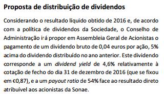 Sonae SGPS Proposta de distribuição de dividendos