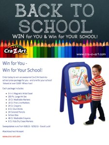 Win for You – Win for Your School with CRA-Z-ART Back to School Giveaway!