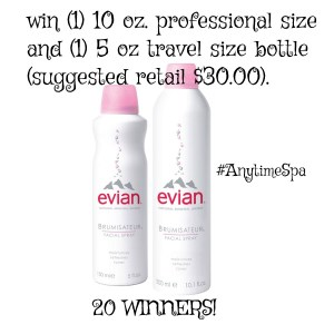 Spa on the Go with evian® Facial Spray- 20 Winners Giveaway!