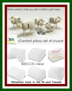 Still looking for the perfect pillow??… No worries !! Serta is here to help – Here is one last chance to Win an iComfort Pillow Set of your choice