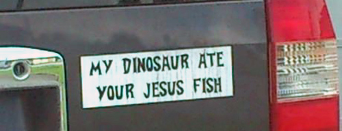 my dinosaur ate your jesus fish
