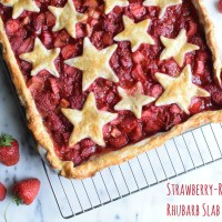 Strawberry-Raspberry Rhubarb Slab Pie
