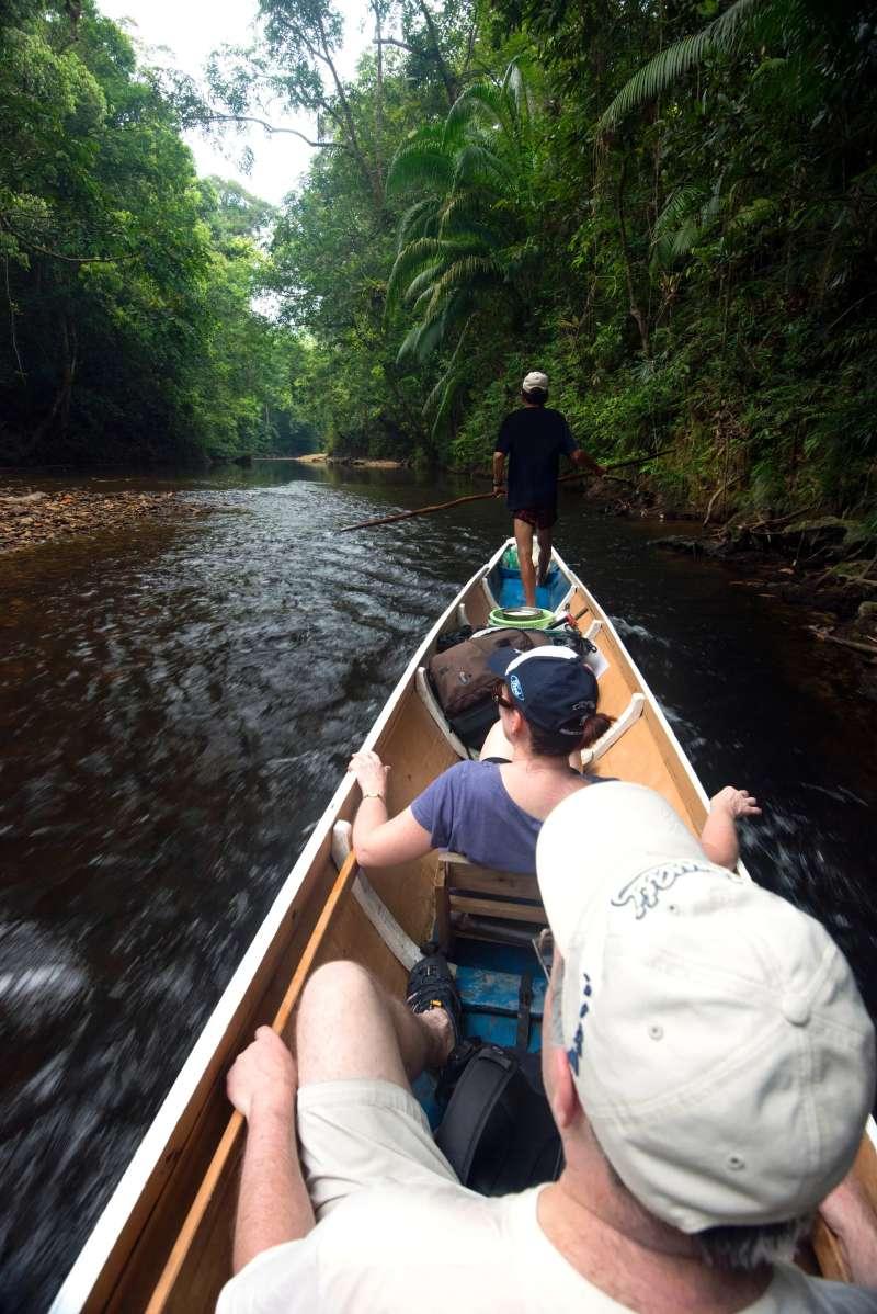 Travelling by longboat to Nanga Sumpa, Batang Ai