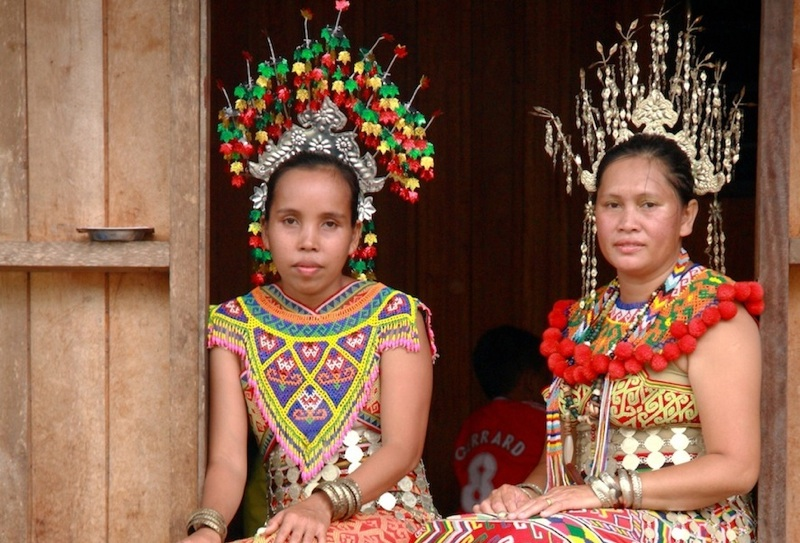 Iban ladies in traditional dress at Nanga Sumpa, Ulu Ai, Sarawak, Malaysia.