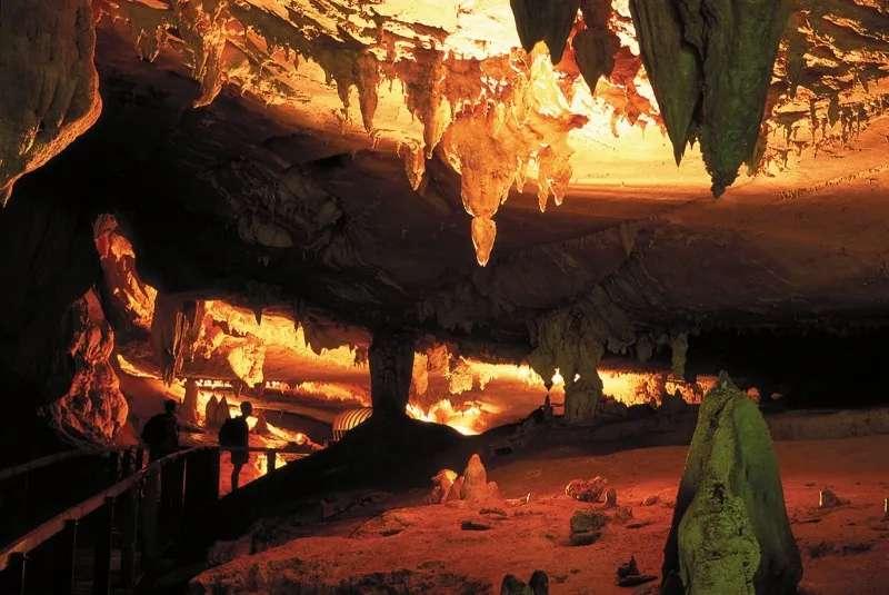 Stalagmites and stalactites in Langs Cave, Gunung Mulu National Park, Sarawak, Malaysia.