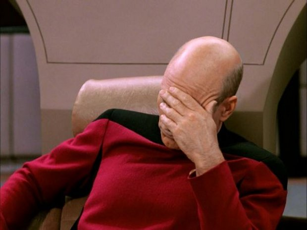 Star Trek: The Next Generation's Captain Picard in a face-palm image