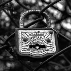 A steel padlock