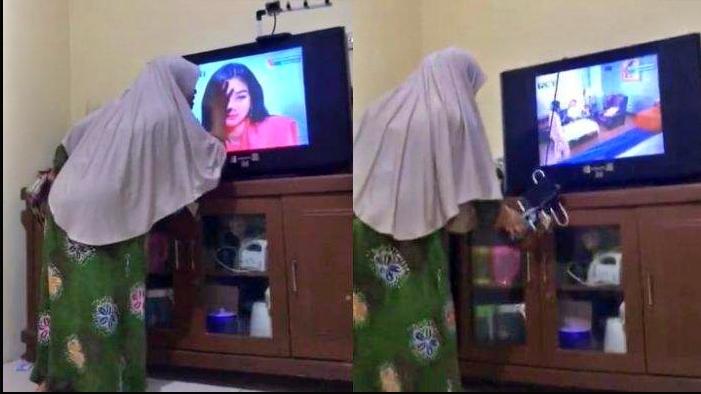 viral emak emak emosi nonton sinetron pukuli televisi