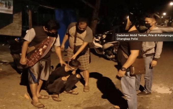 Polisi mengamankan pelaku ASP (25) yang menggelapkan mobil di Triharjo Wates, Kulonprogo, Minggu (2/5/2021). (foto: doc/Polres Kulonprogo)