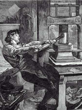 Imprenta de tipos móviles, de J. Gutenberg. Siglo XV.
