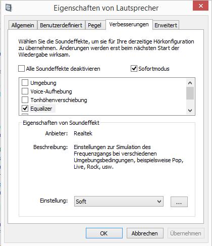 configuracion audio efectos sonido ecualizador en windows aleman