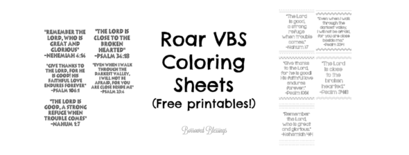 Roar VBS: Printable Bible Verse Coloring Sheets « Borrowed