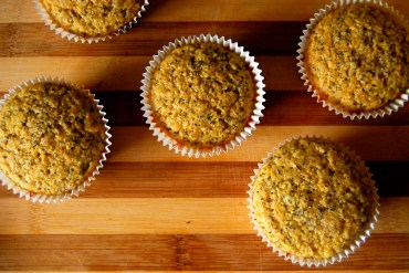 cornmeal lemon poppy seed muffins with honey butter glaze