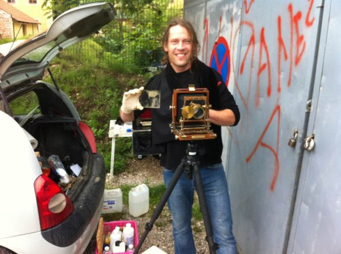 Wet wet plate photographer at work. Photo: Klemen Slakonja