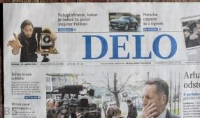 Dnevnik DELO in članek o oživitvi steklenega studija Pelikan.