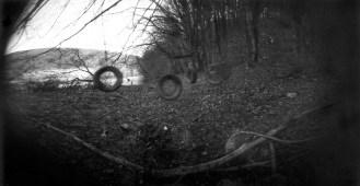 Swings beside river Krka, photographed by Miša Keskenović with camera obscura.