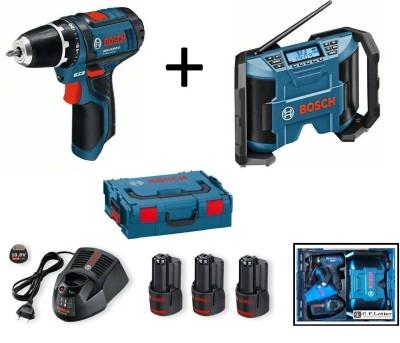 BOSCH-Set Akku-Bohrschrauber GSR 10,8-2-Li Akku-Radio GML 10,8 V-Li