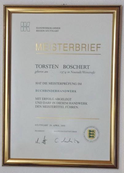 Einrahmung - Meisterbrief - o. Passepartout, mit Abstandhalter; Museumsglas; Holzrahmen Profil COLANI - 23 Karat Platin mit Anthrazit